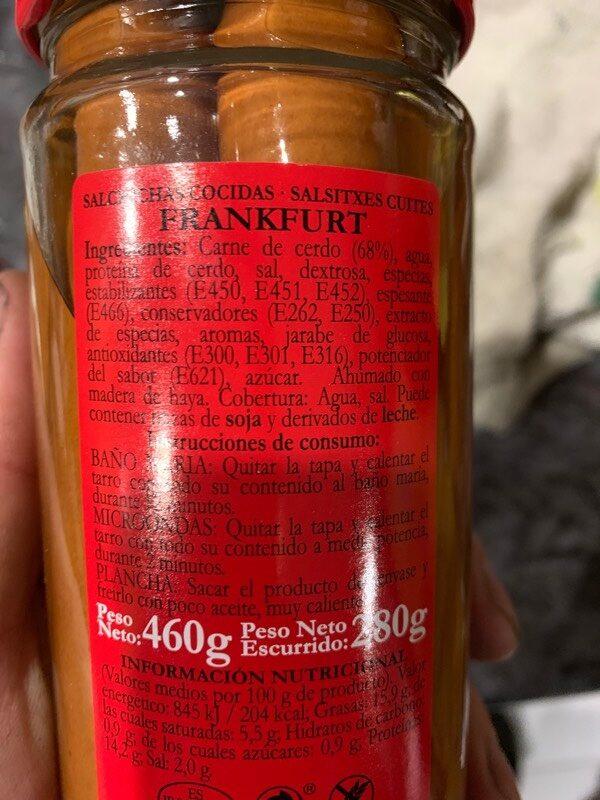 Salchichas Cocidas - Ingredients