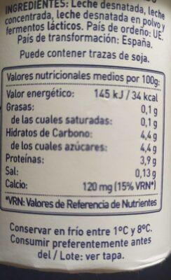 Yogur desnatado Kaiku - Informació nutricional