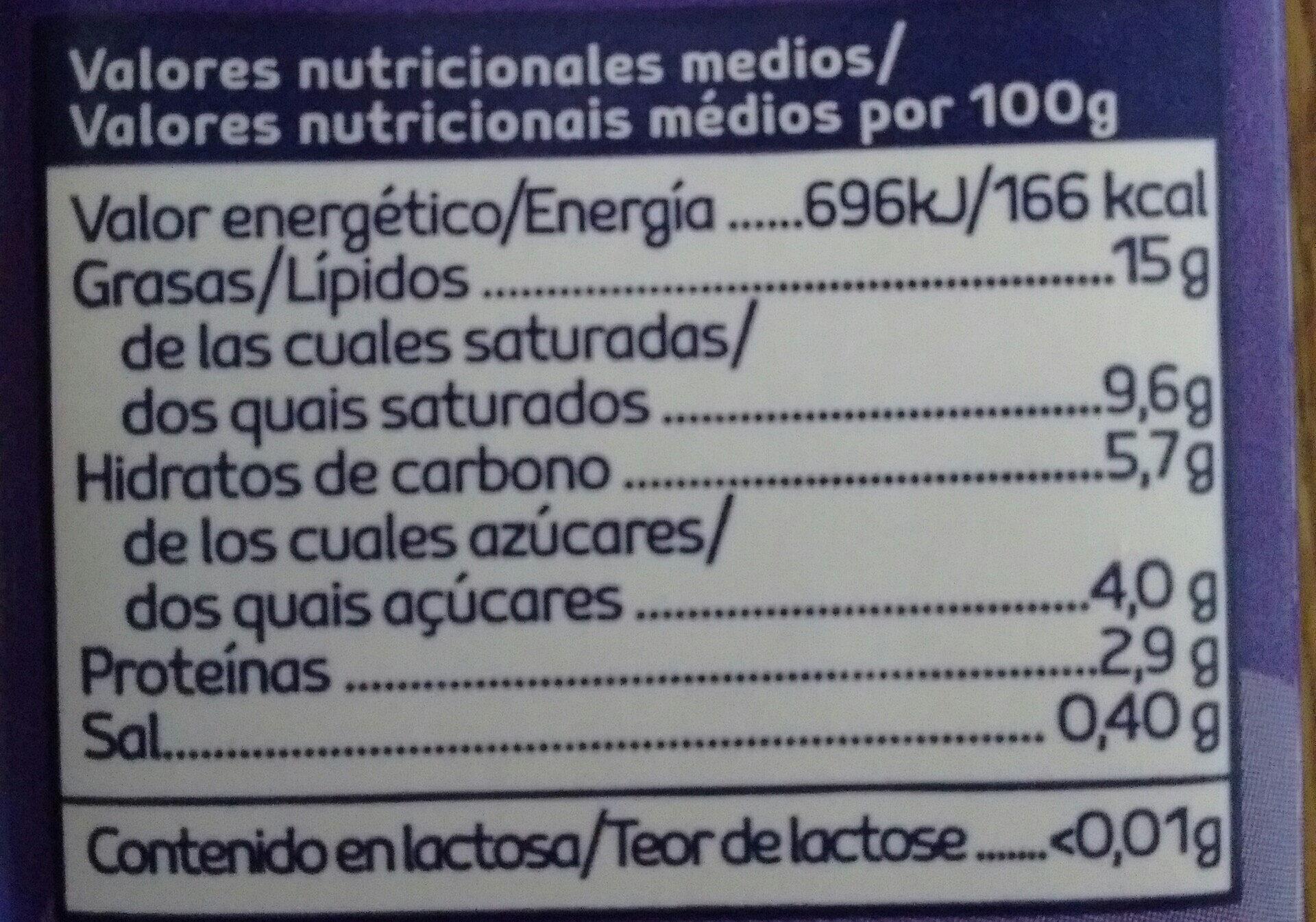 Sin Lactosa nata líquida para cocinar - Información nutricional - es