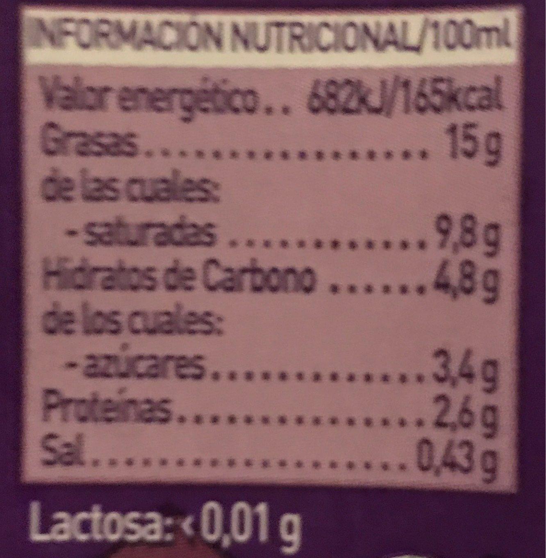 Sin Lactosa nata líquida para cocinar - Informations nutritionnelles - fr