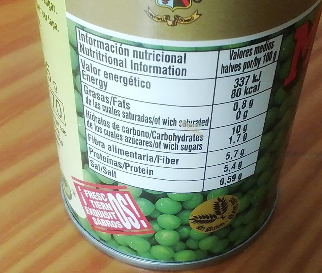 Guisantes conserva - Nutrition facts - es