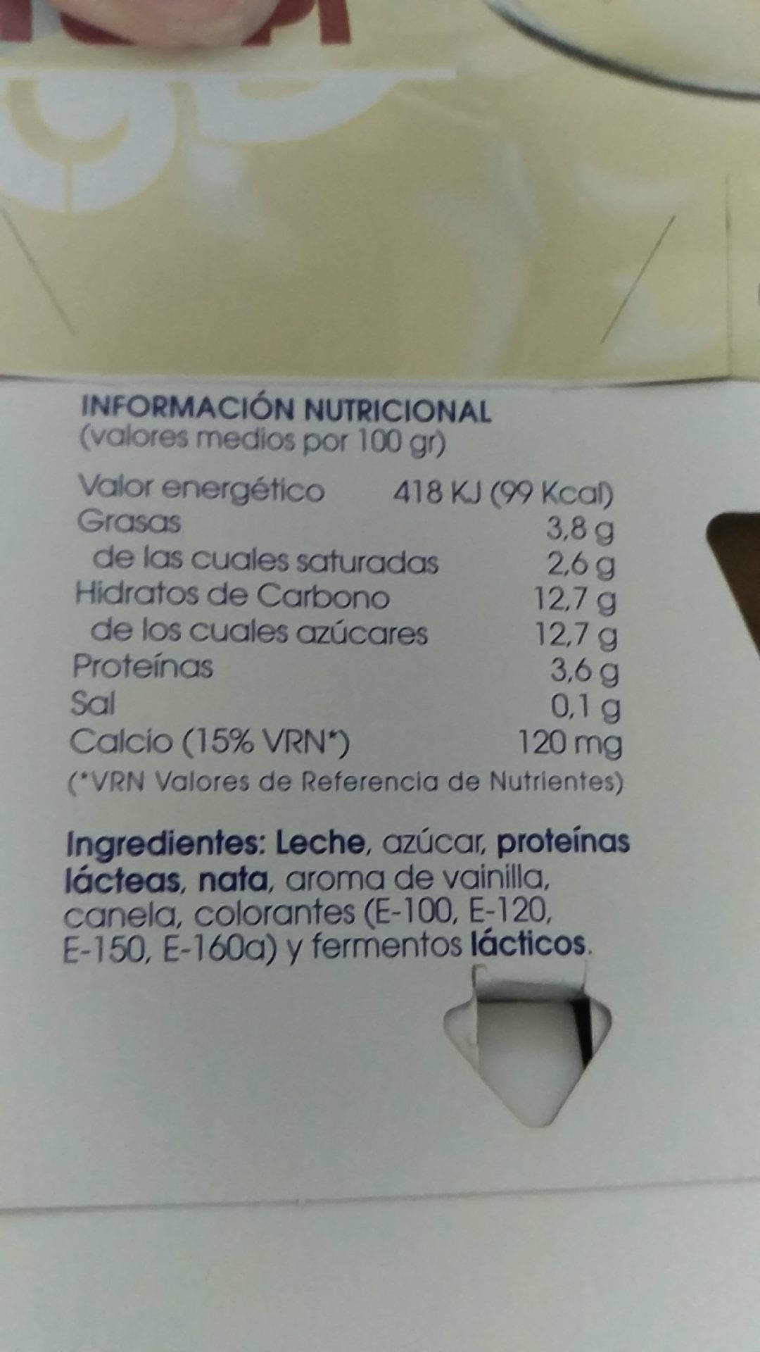 Yogur sabor vainilla - Ingredients - en