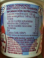 Yogurt desnatada con frambuesa - Información nutricional