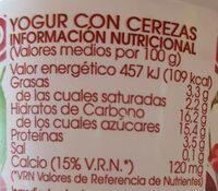 Yogur con cereza - Información nutricional