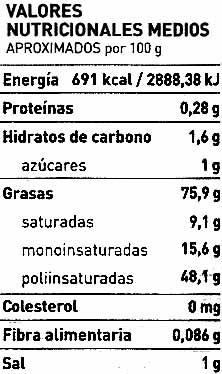 """Salsa alioli """"Ferrer"""" - Informació nutricional"""