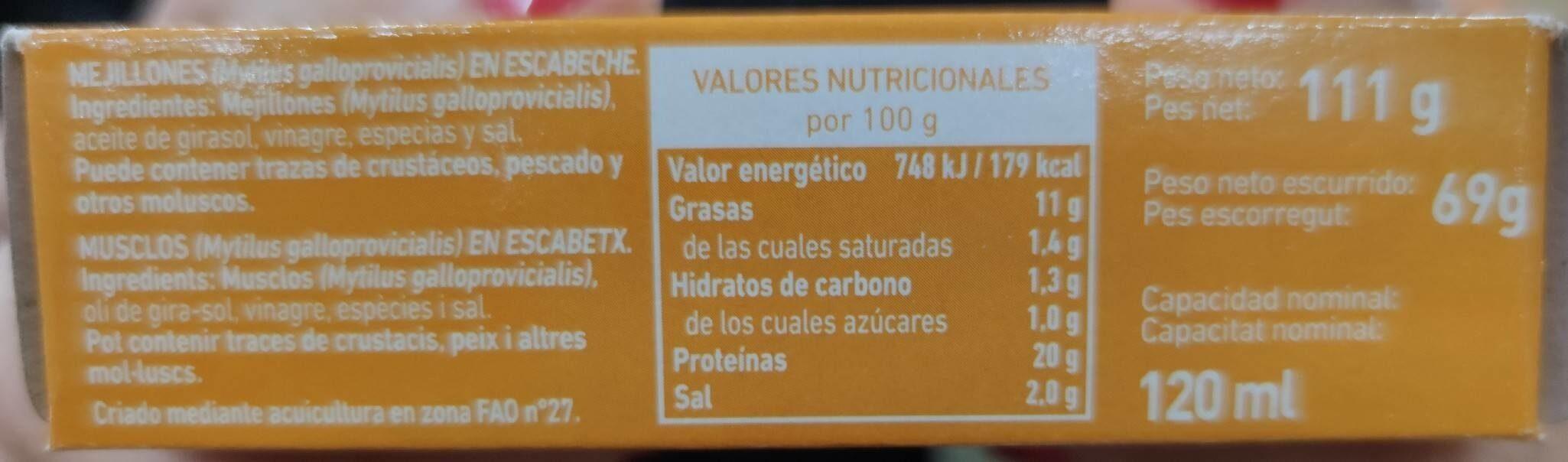 Mejillones - Nutrition facts