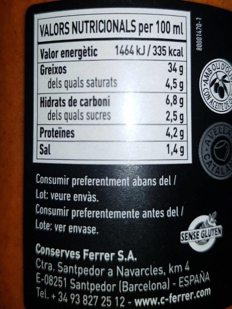 Salsa calçots - Informations nutritionnelles - es
