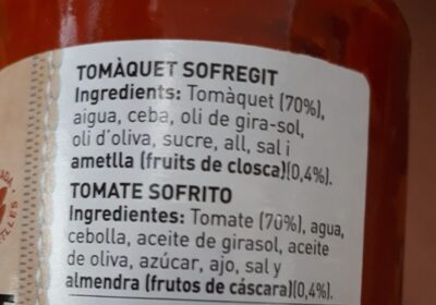 Tomate sofrito casero - Ingredienti - fr