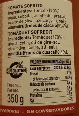 Tomate sofrito casero - Valori nutrizionali - fr