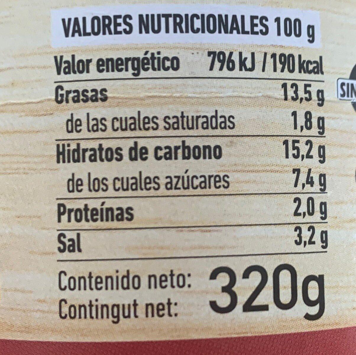 Salsa Brava Ferrer 320G - Información nutricional - es