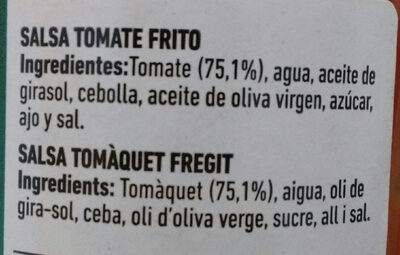 TOMATE FRITO FERRER - Ingredients - es