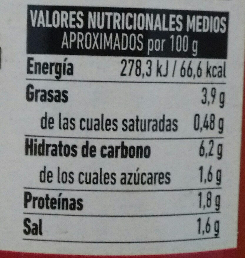 TOMATE FRITO FERRER - Nutrition facts - es