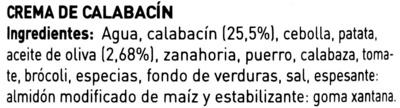 Crema de calabacín - Ingrédients