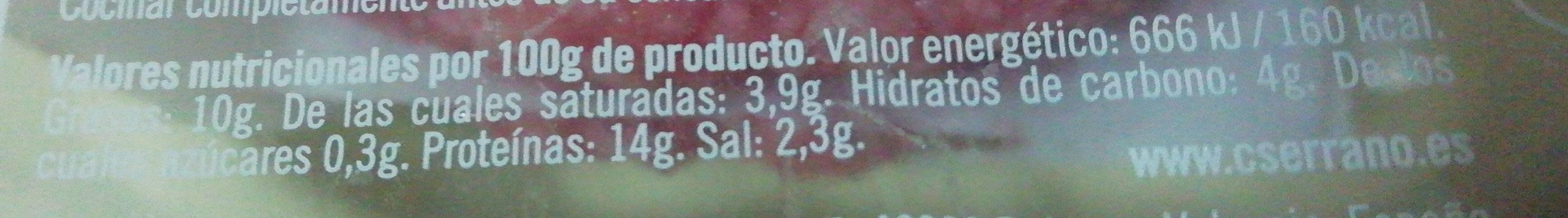 Burger meat 4UDS Mixta Pavo+Pollo - Información nutricional
