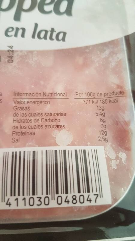 Serrano choped  cocido en lata - Información nutricional
