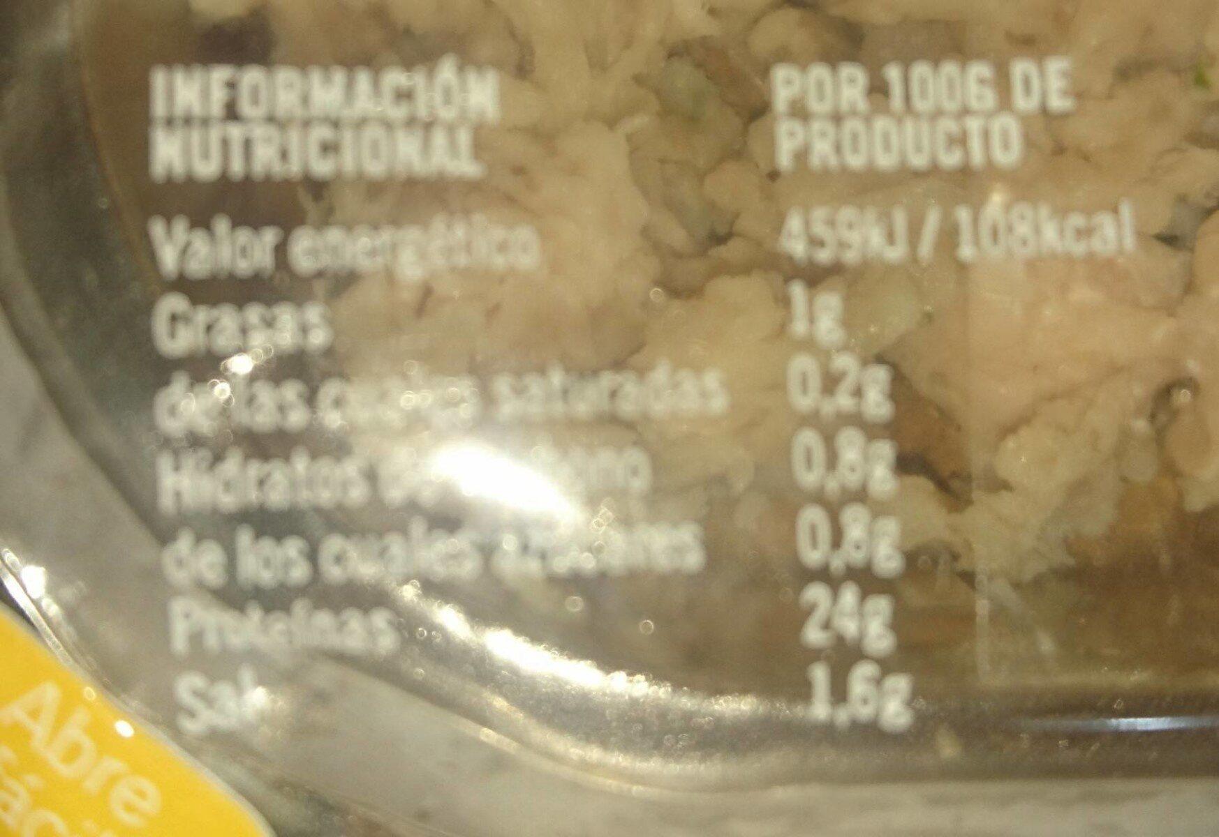 Pechuga de pollo sabor natural - Nutrition facts