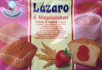 6 magadalenas fourrées à la confiture de fraise - Produit - fr