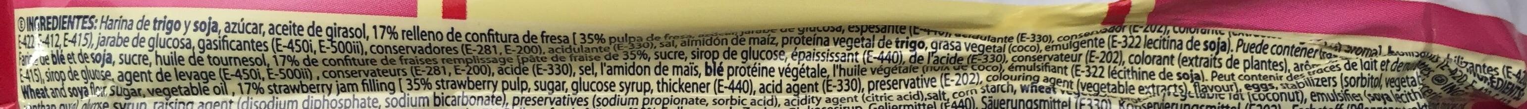 6 magadalenas fourrées à la confiture de fraise - Ingrédients - fr