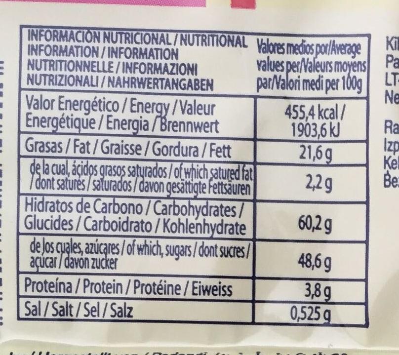 6 magadalenas fourrées à la confiture de fraise - Informations nutritionnelles - fr