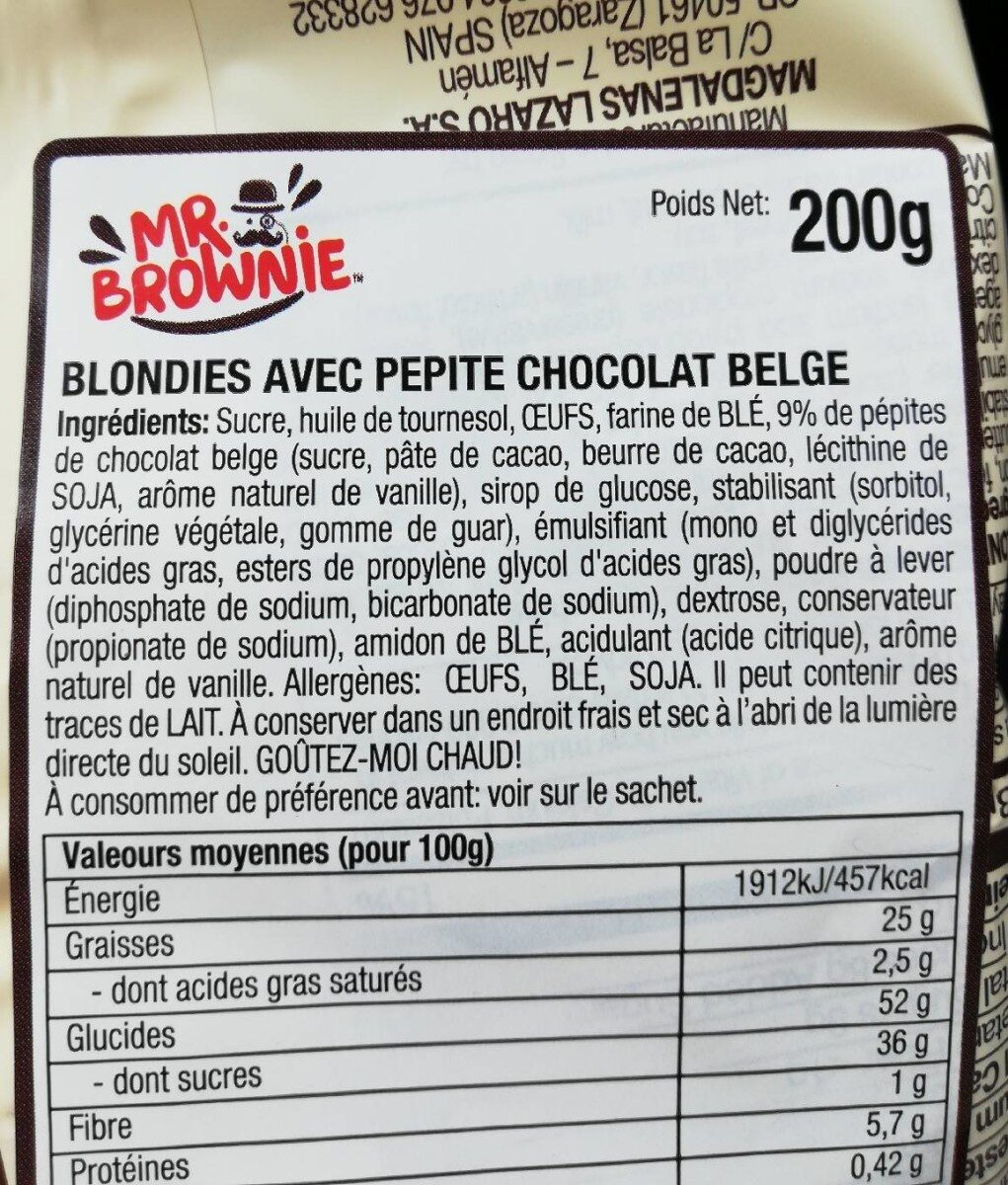 Blondies - Ingredients - fr