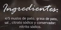 Confit de Pato - Ingredientes