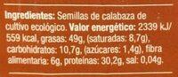 Semillas de calabaza bio - Informació nutricional - es