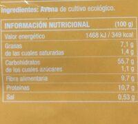 Copos de avena gruesos sin gluten bio - Información nutricional