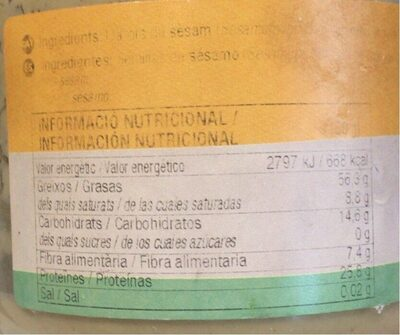Tahin Bio - Nutrition facts