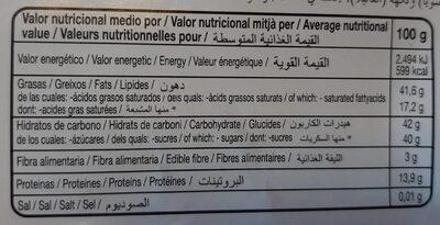 Chocolate con leche y almendras - Información nutricional