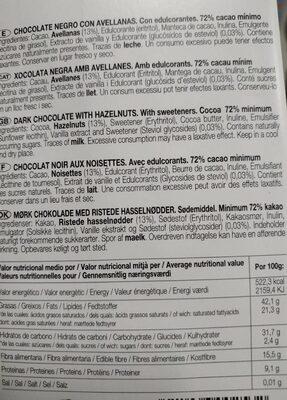 Bitter - Chocolate con stevia con avellanas - Información nutricional - es