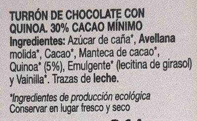 Turrón de chocolate y quinoa - Ingredientes