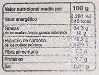 Turrón de chocolate y quinoa - Información nutricional