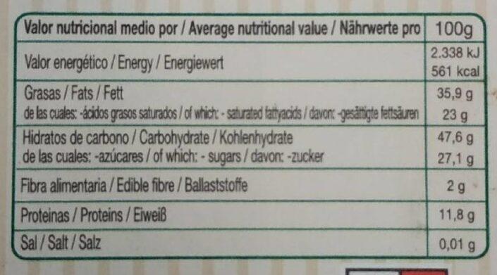 Chocolate negro 73% - Información nutricional