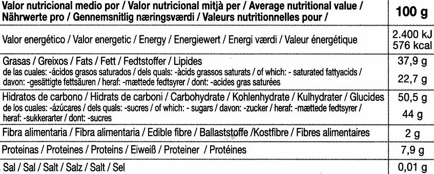 Chocolate negro con naranja 56% cacao - Nutrition facts - es