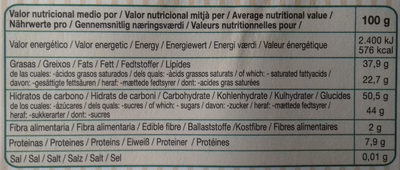 Chocolate negro 56% cacao - Informations nutritionnelles