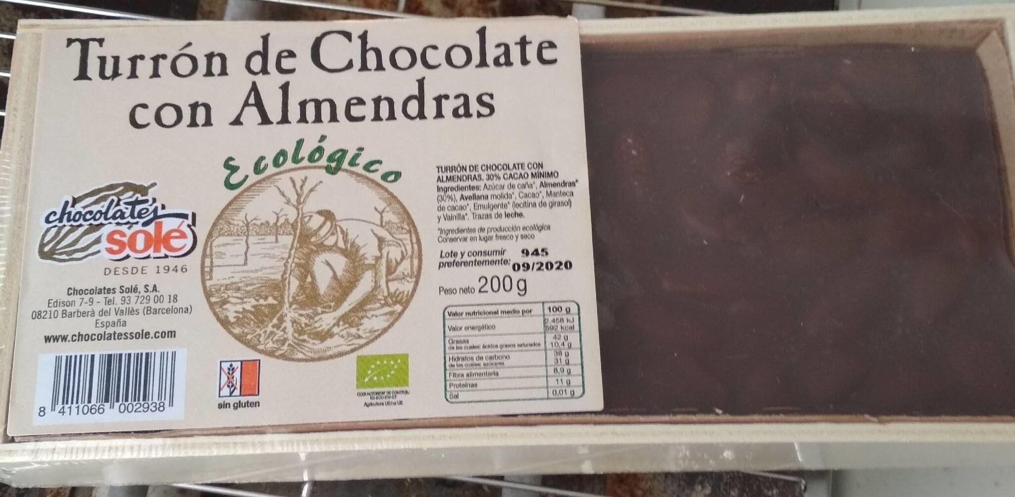 Turrón chocolate con almendras - Produit
