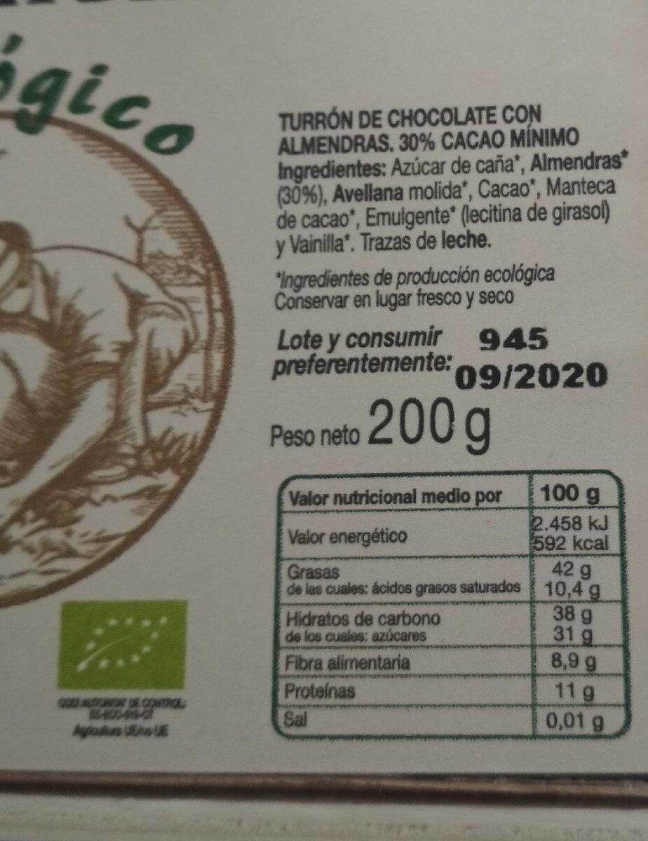 Turrón chocolate con almendras - Informations nutritionnelles