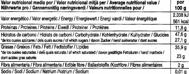 Tableta de chocolate negro 73% cacao - Información nutricional