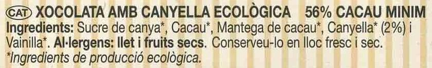 Chocolate negro con canela 56% cacao - Ingredients