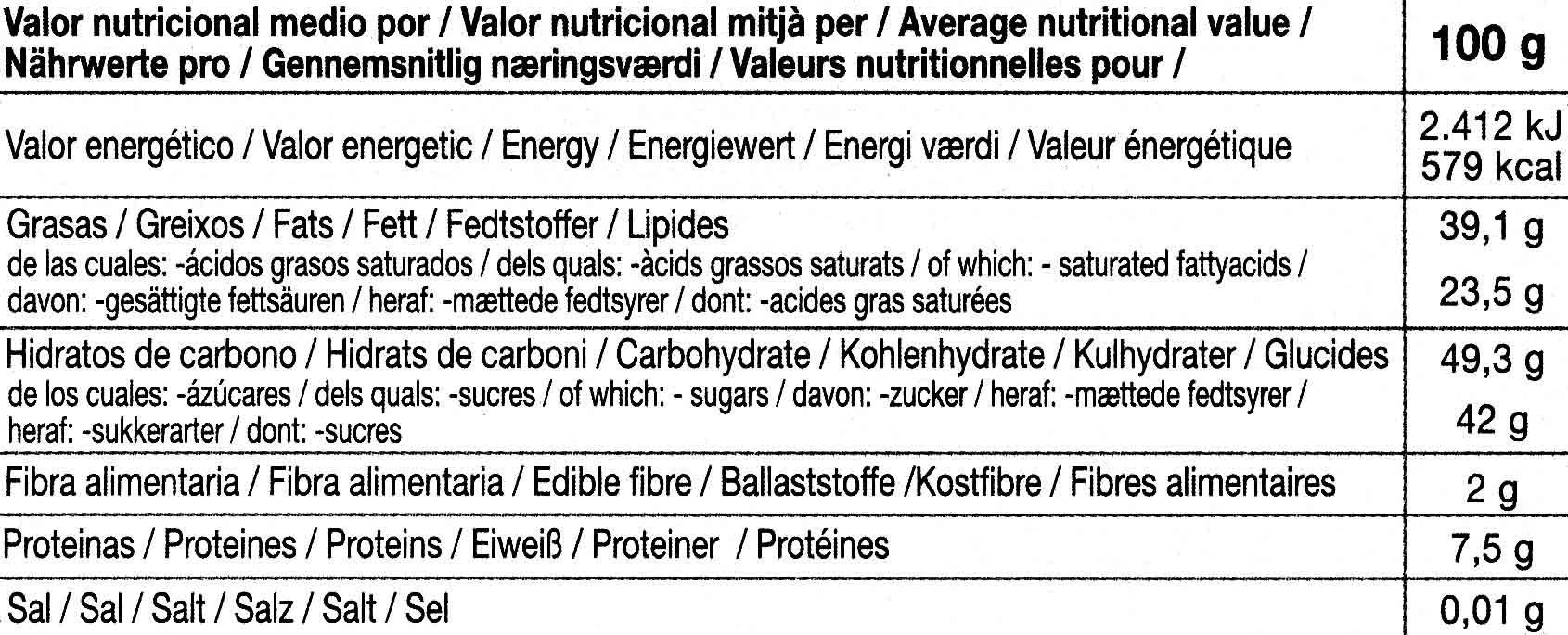 Chocolate negro con canela 56% cacao - Informació nutricional