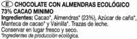 Tableta de chocolate negro con almendras 73% cacao - Ingredients - es