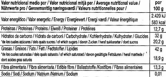 Tableta de chocolate negro con almendras 73% cacao - Informació nutricional
