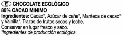 Chocolate negro ecológico - Ingredientes - es