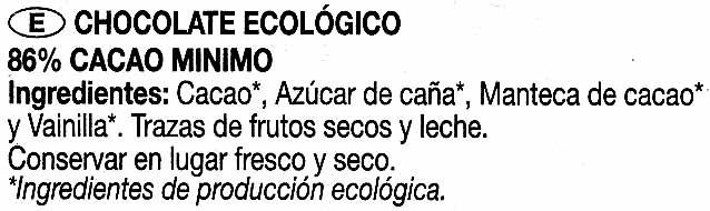 Chocolate negro ecológico - Ingredients - es