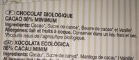 Chocolate negro ecológico - Ingrédients - fr