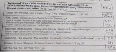 Chocolate negro ecológico - Información nutricional - es