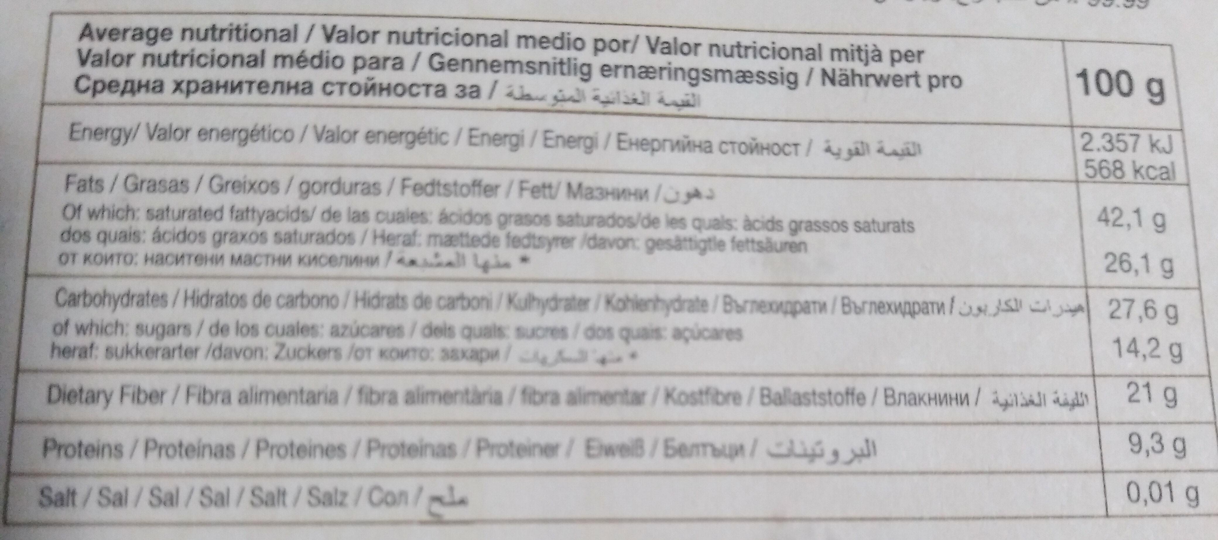 Chocolate negro ecológico - Nutrition facts - es