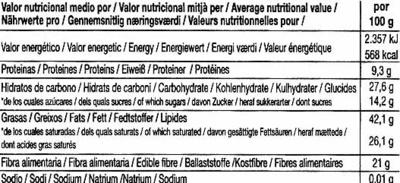 Tableta de chocolate negro 86% cacao - Información nutricional