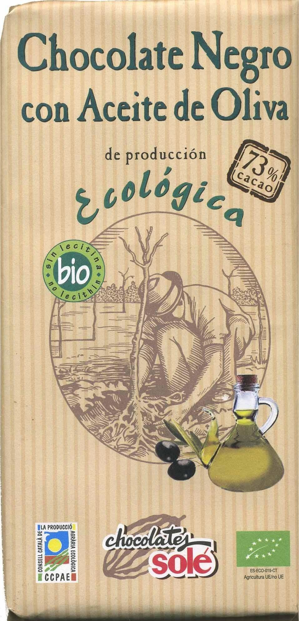 Tableta de chocolate negro con aceite de oliva 73% cacao - Product - es
