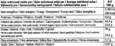 Tableta de chocolate negro con aceite de oliva 73% cacao - Informations nutritionnelles